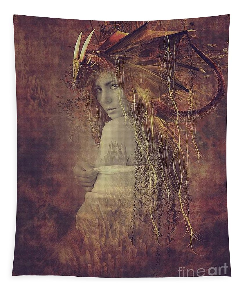 Surreal Tapestry featuring the digital art The She Dragon by Ali Oppy