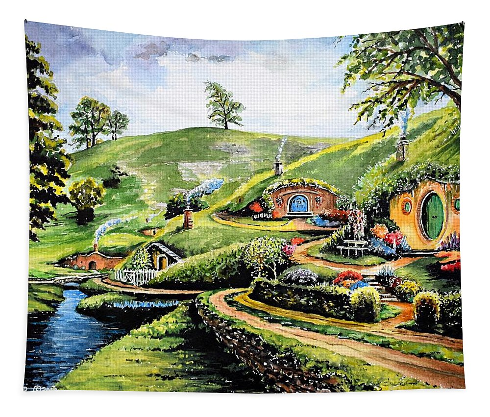 The Shire Tapestry featuring the painting The Shire by Andrew Read