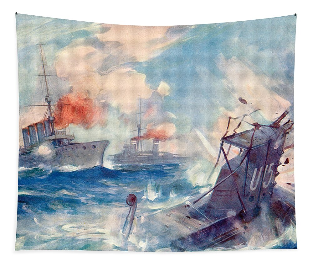 Sinking Tapestry featuring the painting The Sinking Of A German U Boat After Being Rammed By The British Cruiser by English School