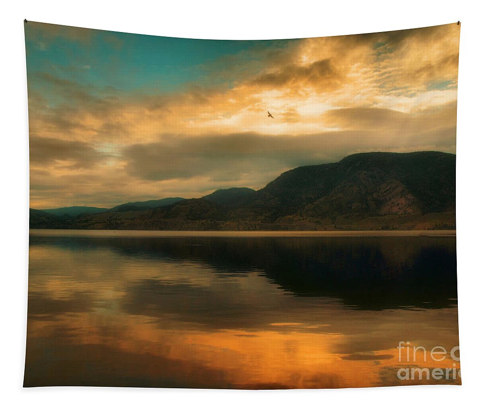 Skaha Tapestry featuring the photograph The Skaha Sunrise by Tara Turner