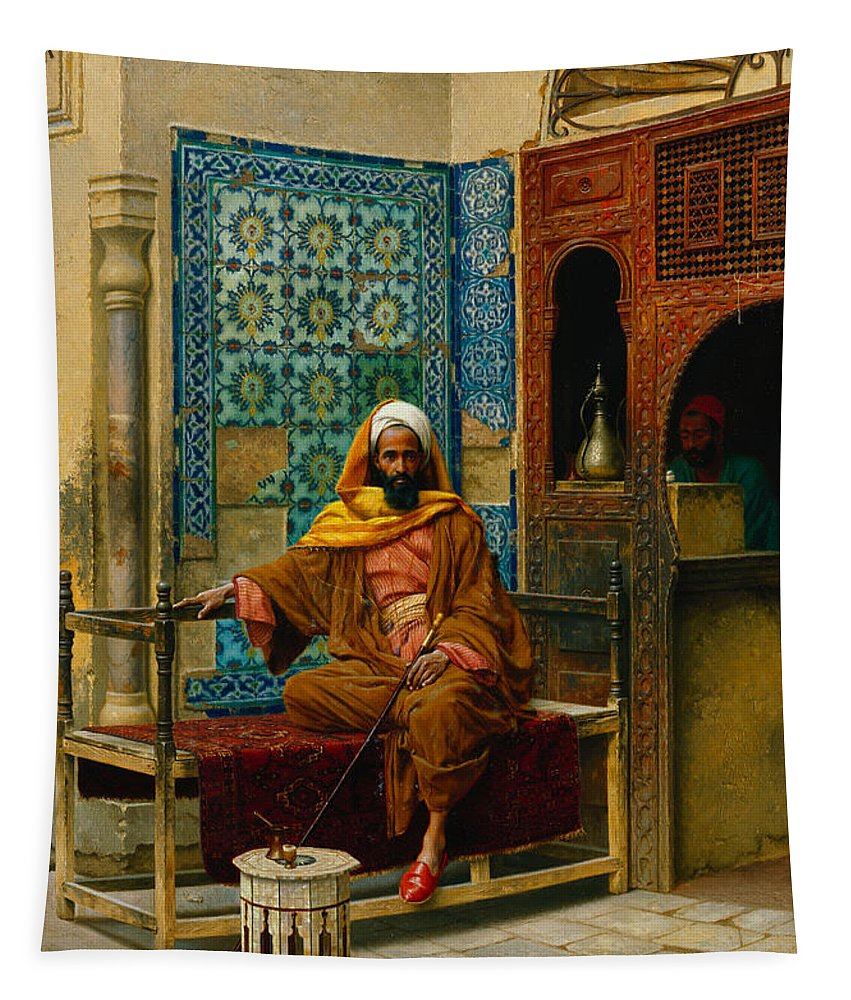Hookah Tapestry featuring the painting The Smoker by Ludwig Deutsch