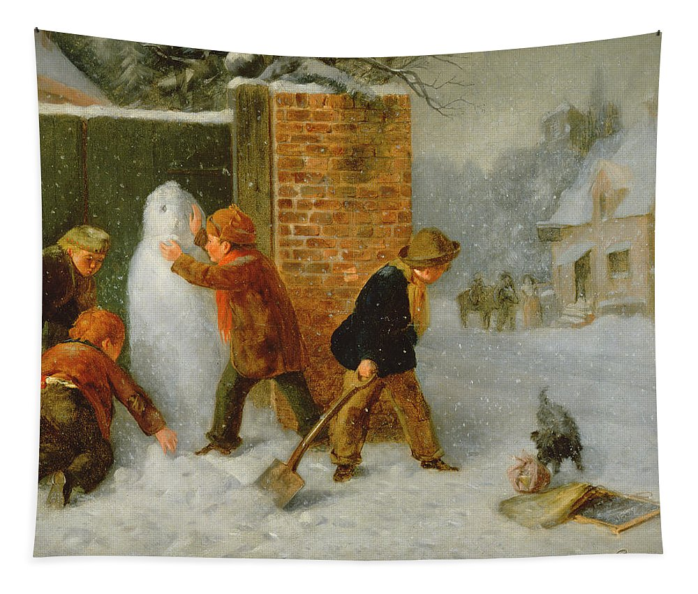 Christmas Card Tapestry featuring the painting The Snowman by Edward Charles Barnes