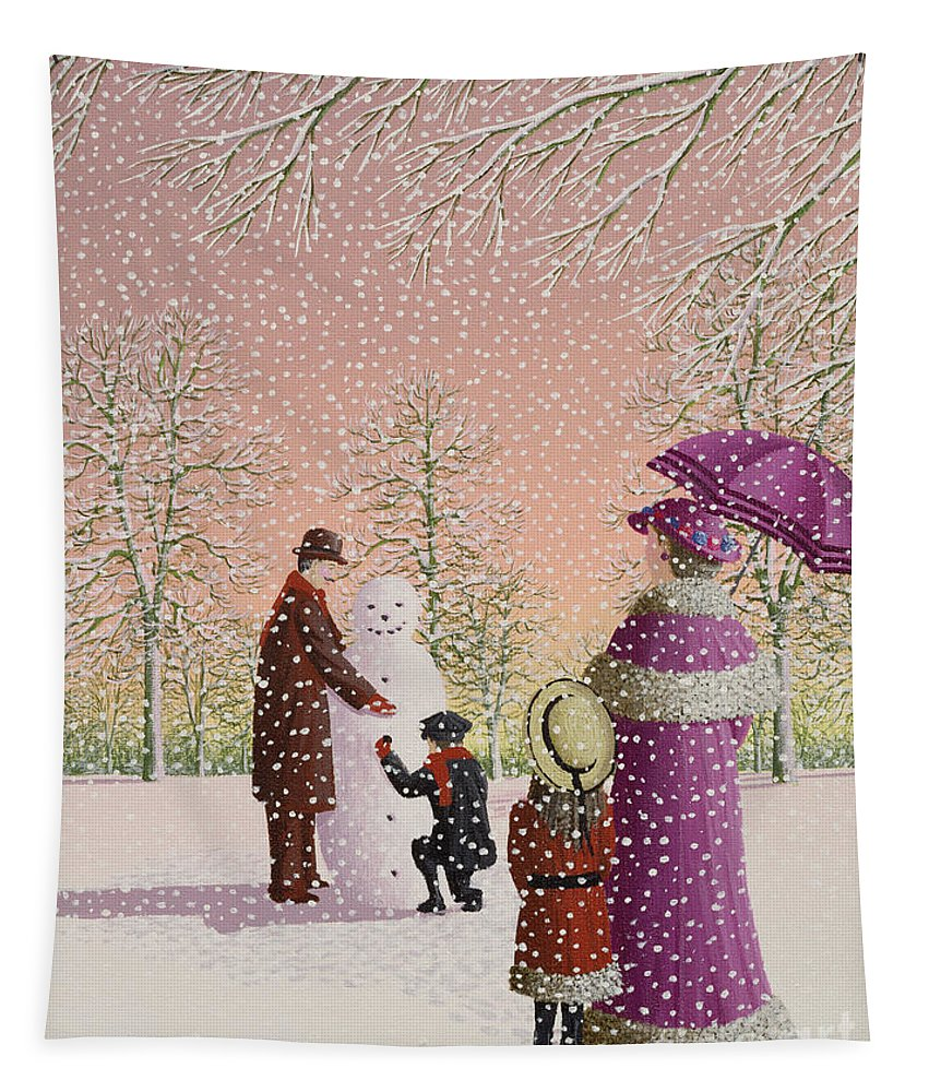 Snowman; Snow; Snowing; Winter; Cold; Woman; Umbrella; Parasol; Child; Children; Man; Playing; Outside; Landscape; Tree Tapestry featuring the painting The Snowman by Peter Szumowski