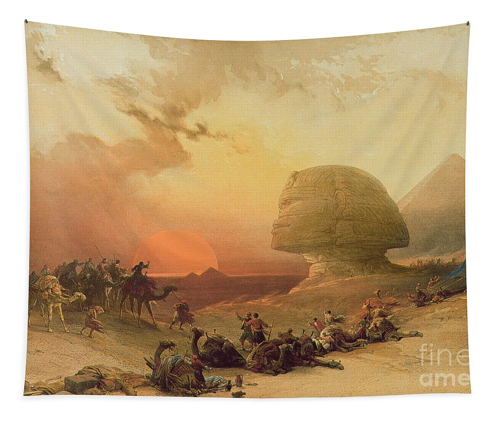 The Sphinx At Giza (colour Litho) By David Roberts (1796-1864) Tapestry featuring the painting The Sphinx At Giza by David Roberts