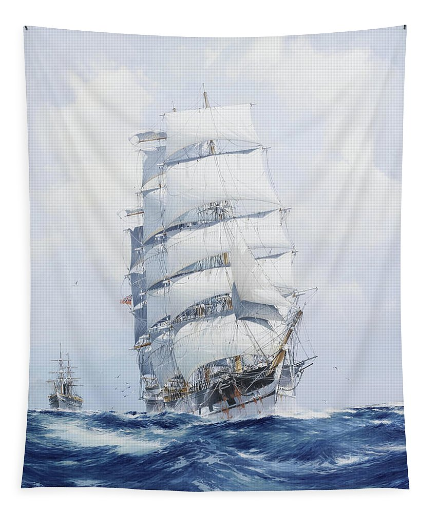 Painting Tapestry featuring the painting The Square-rigged Wool Clipper Argonaut Under Full Sail by Mountain Dreams