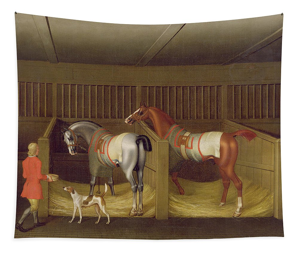 The Tapestry featuring the painting The Stables And Two Famous Running Horses Belonging To His Grace - The Duke Of Bolton by James Seymour