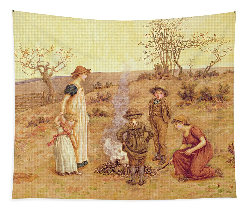 Bonfire Tapestry featuring the painting The Stick Fire by Kate Greenaway