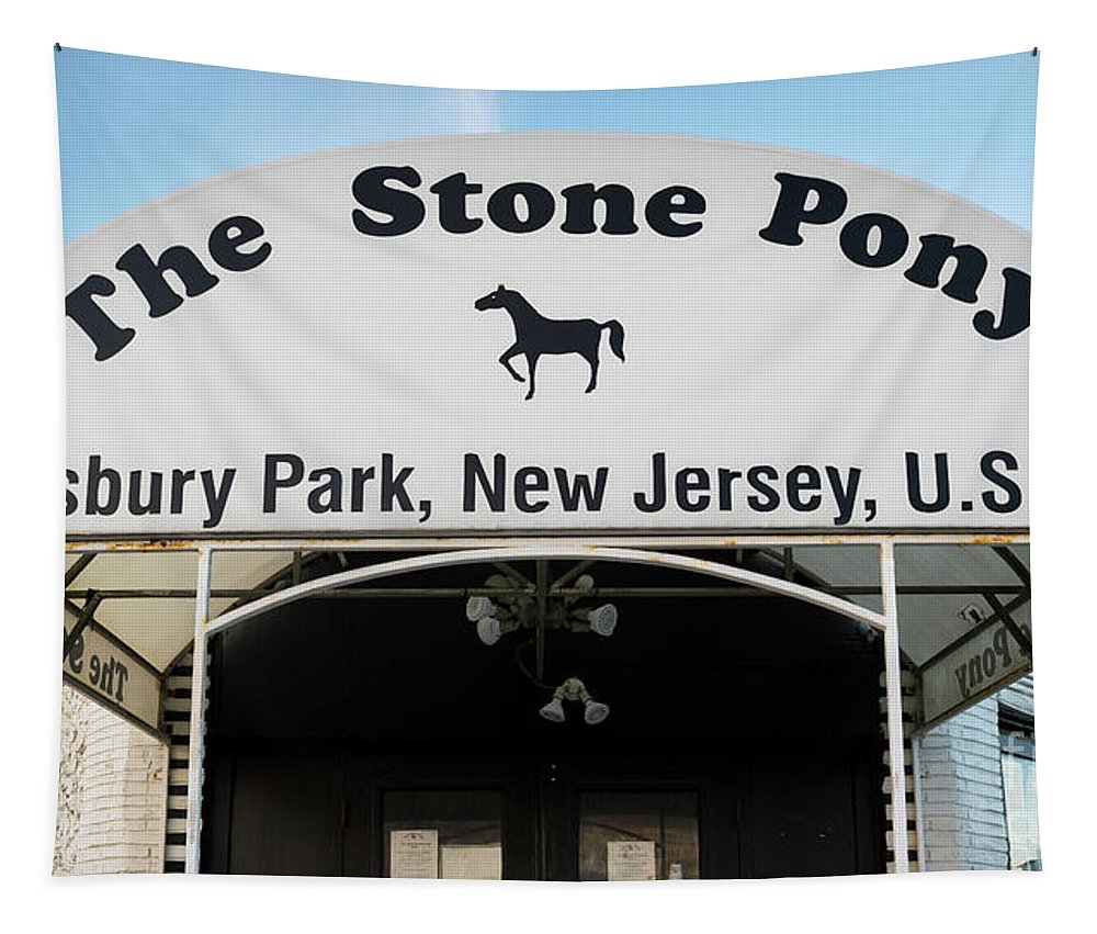 New Jersey Tapestry featuring the photograph The Stone Pony, Asbury Park by Jerry Fornarotto