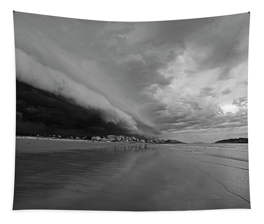 Gloucester Tapestry featuring the photograph The Storm Rolling In To Good Harbor Beach Gloucester Ma Black And White by Toby McGuire