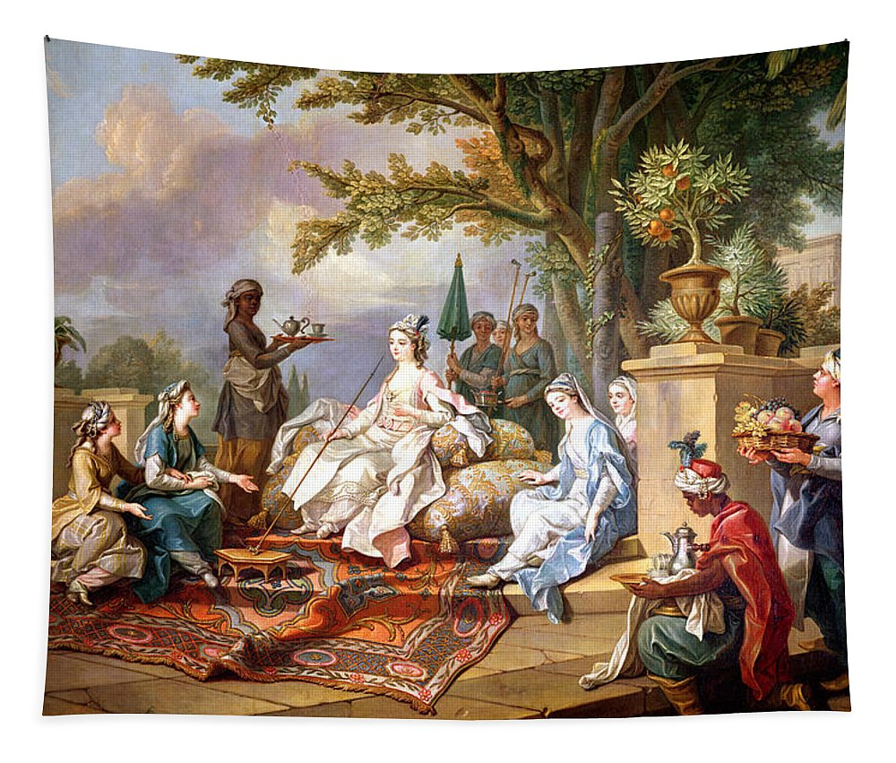 The Tapestry featuring the painting The Sultana Served By Her Eunuchs by Charles Amedee Philippe van Loo
