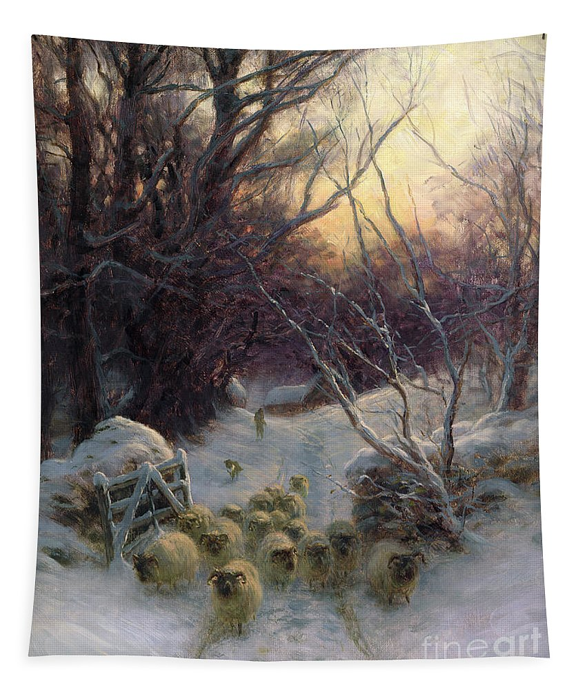 Winter Tapestry featuring the painting The Sun Had Closed The Winter Day by Joseph Farquharson