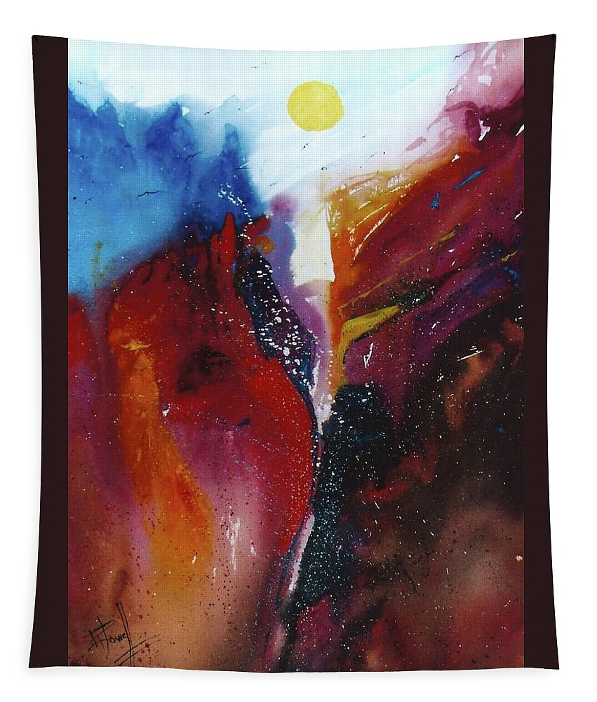 Abstract Tapestry featuring the painting The Sun Rise by George Powell