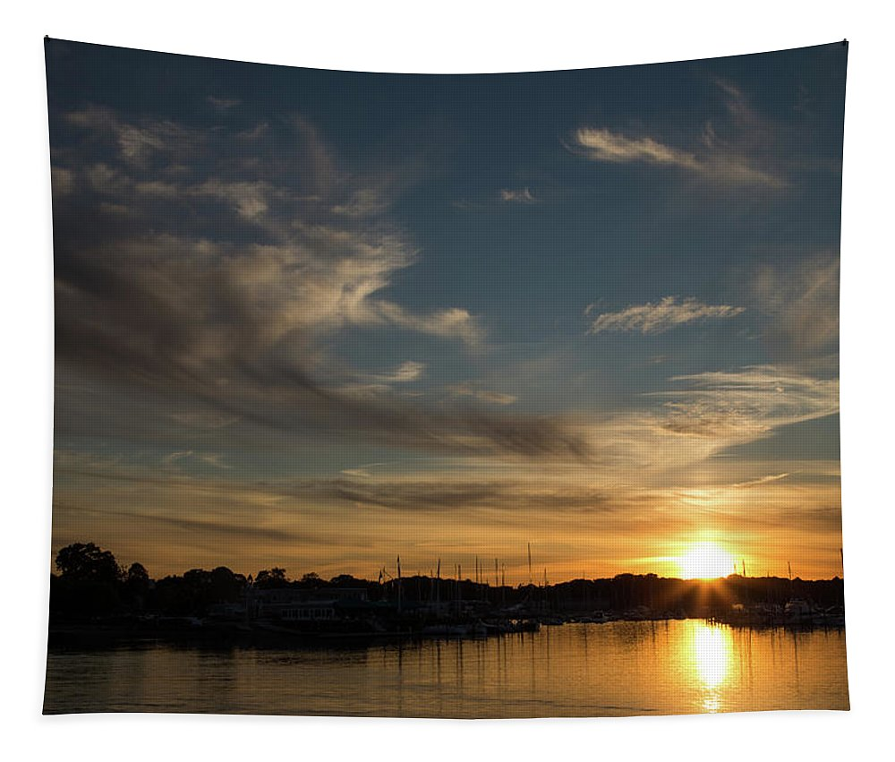Sunset Tapestry featuring the photograph The Sun Sets In Milford by Karol Livote