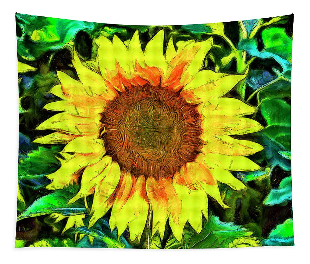 Sunflower Tapestry featuring the digital art The Sunflower by Mark Kiver