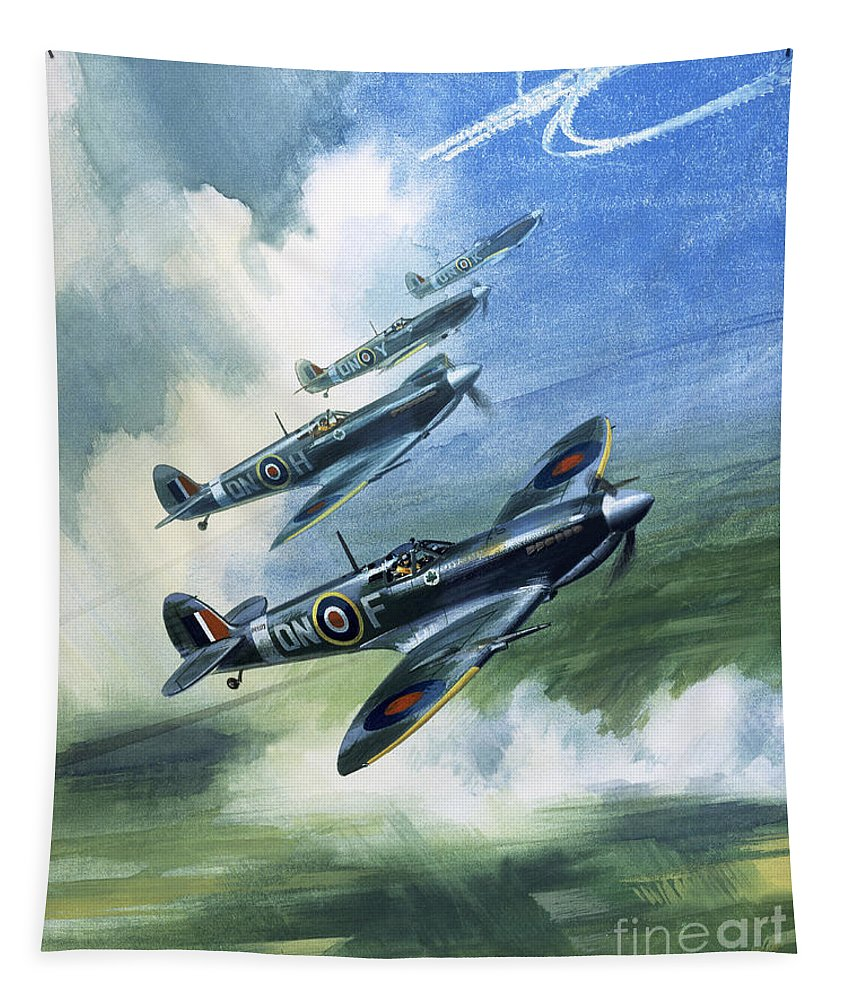 The Tapestry featuring the painting The Supermarine Spitfire Mark Ix by Wilfred Hardy