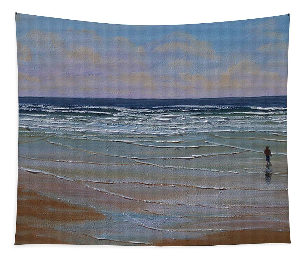 Seascape Tapestry featuring the painting The Surf Walker by Frank Wilson