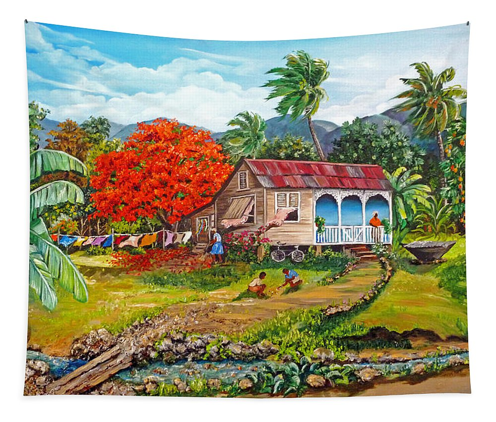 Tropical Scene Caribbean Scene Tapestry featuring the painting The Sweet Life by Karin Dawn Kelshall- Best