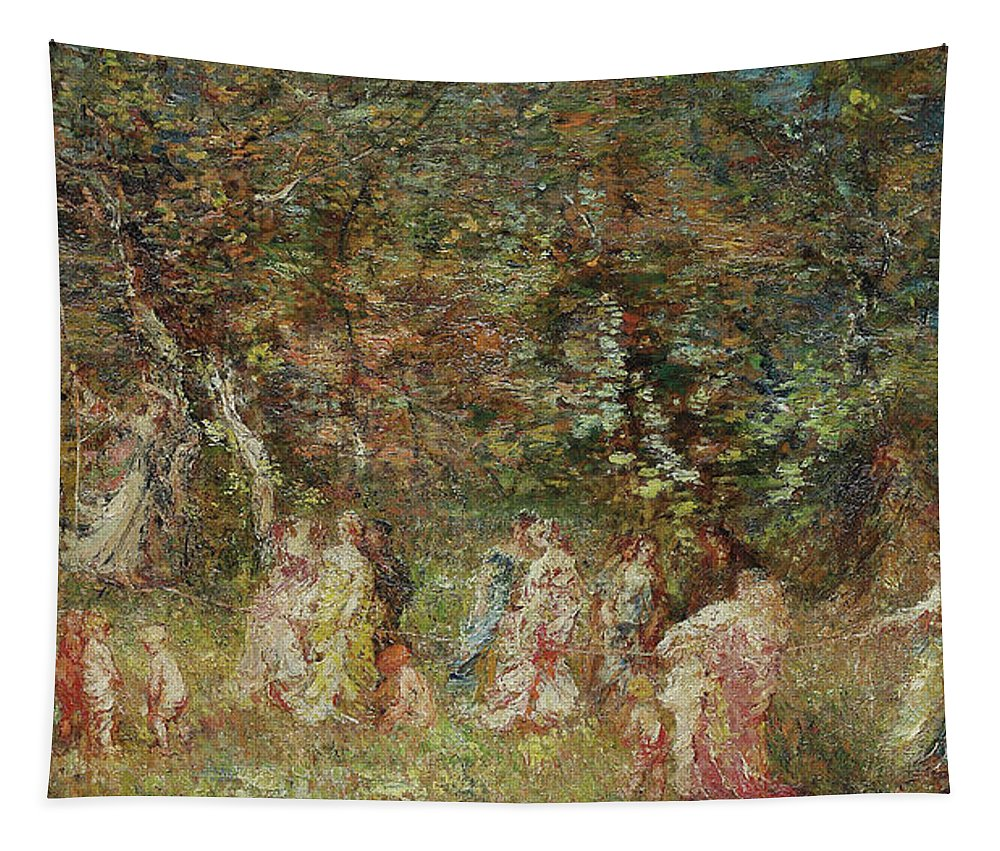 Swing Tapestry featuring the painting The Swing by Adolphe Joseph Thomas Monticelli