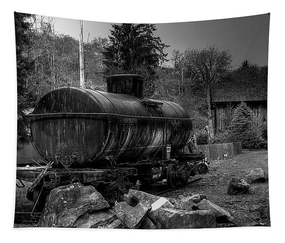 Black And White Tapestry featuring the photograph The Tanker Car by David Patterson