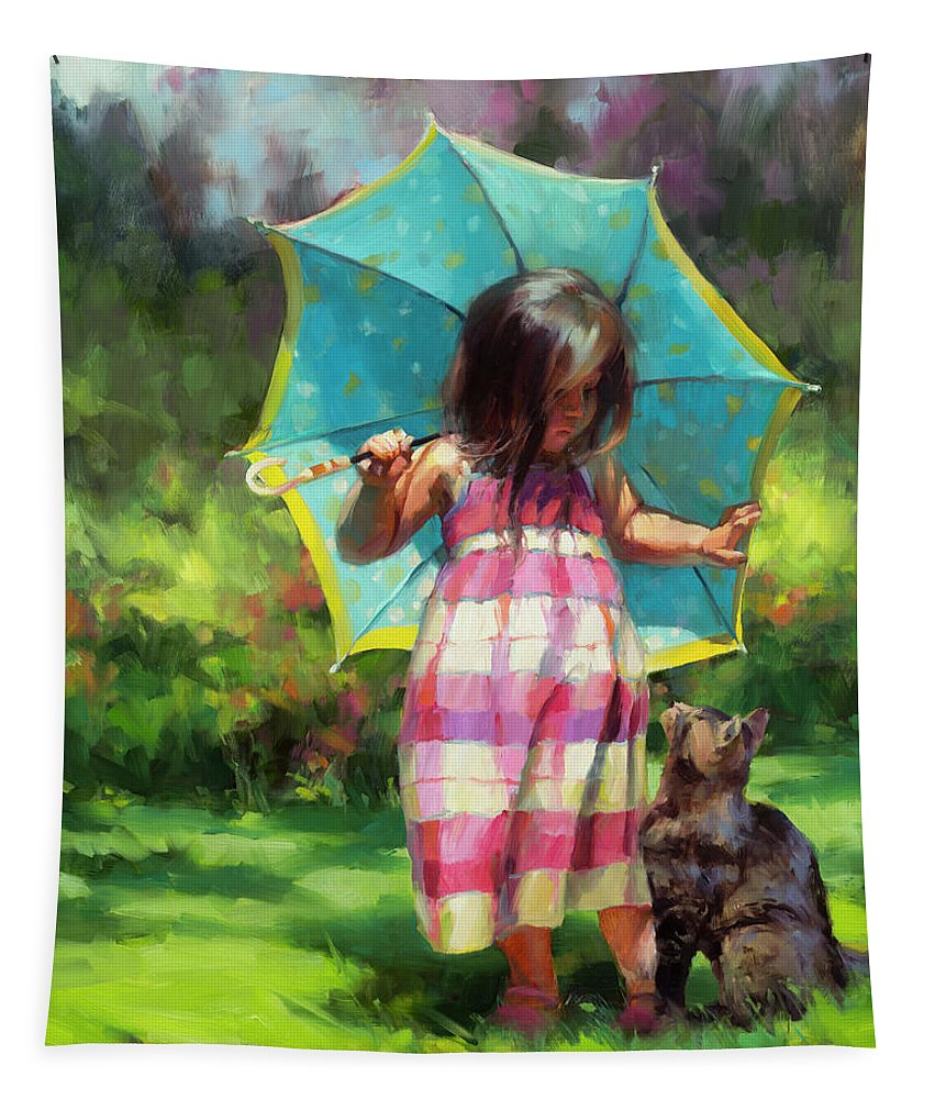 Child Tapestry featuring the painting The Teal Umbrella by Steve Henderson