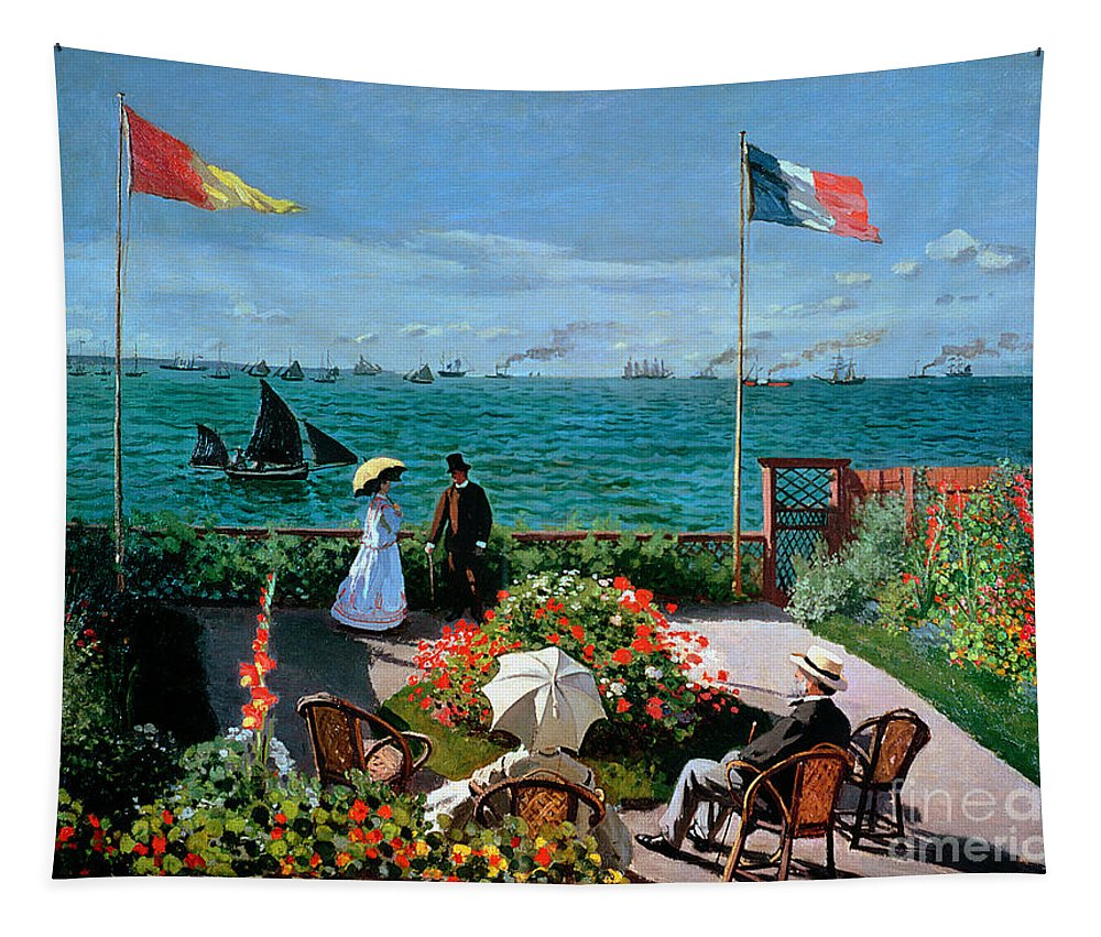 Claude Monet Tapestry featuring the painting The Terrace At Sainte Adresse by Claude Monet