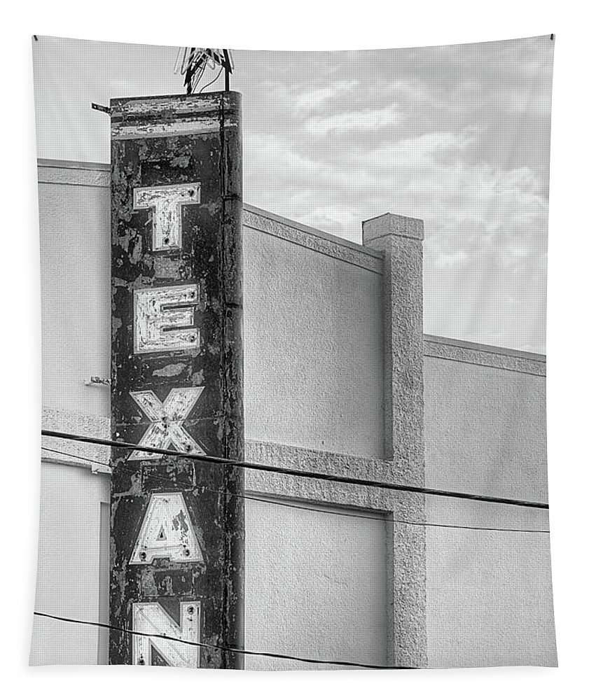 The Texan Theater Tapestry featuring the photograph The Texan Theater Marquee In Black And White by JC Findley