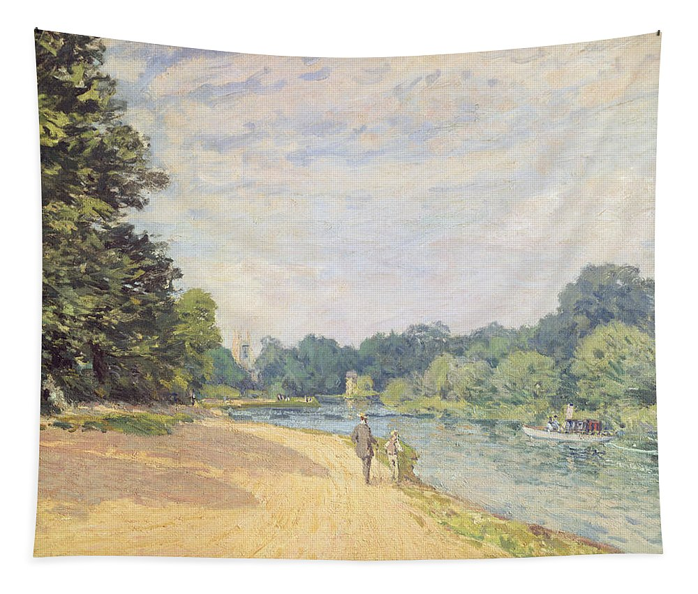 The Thames With Hampton Church Tapestry featuring the painting The Thames With Hampton Church by Alfred Sisley
