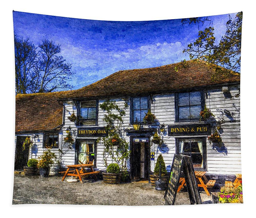 Theydon Oak Tapestry featuring the photograph The Theydon Oak Pub Art by David Pyatt