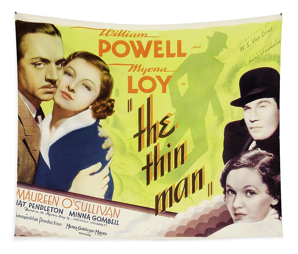 Painting Tapestry featuring the mixed media The Thin Man 1934 by Mountain Dreams