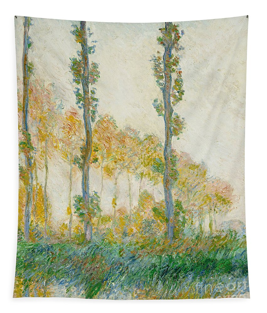Impressionism; Impressionist; Landscape; River Tapestry featuring the painting The Three Trees by Claude Monet