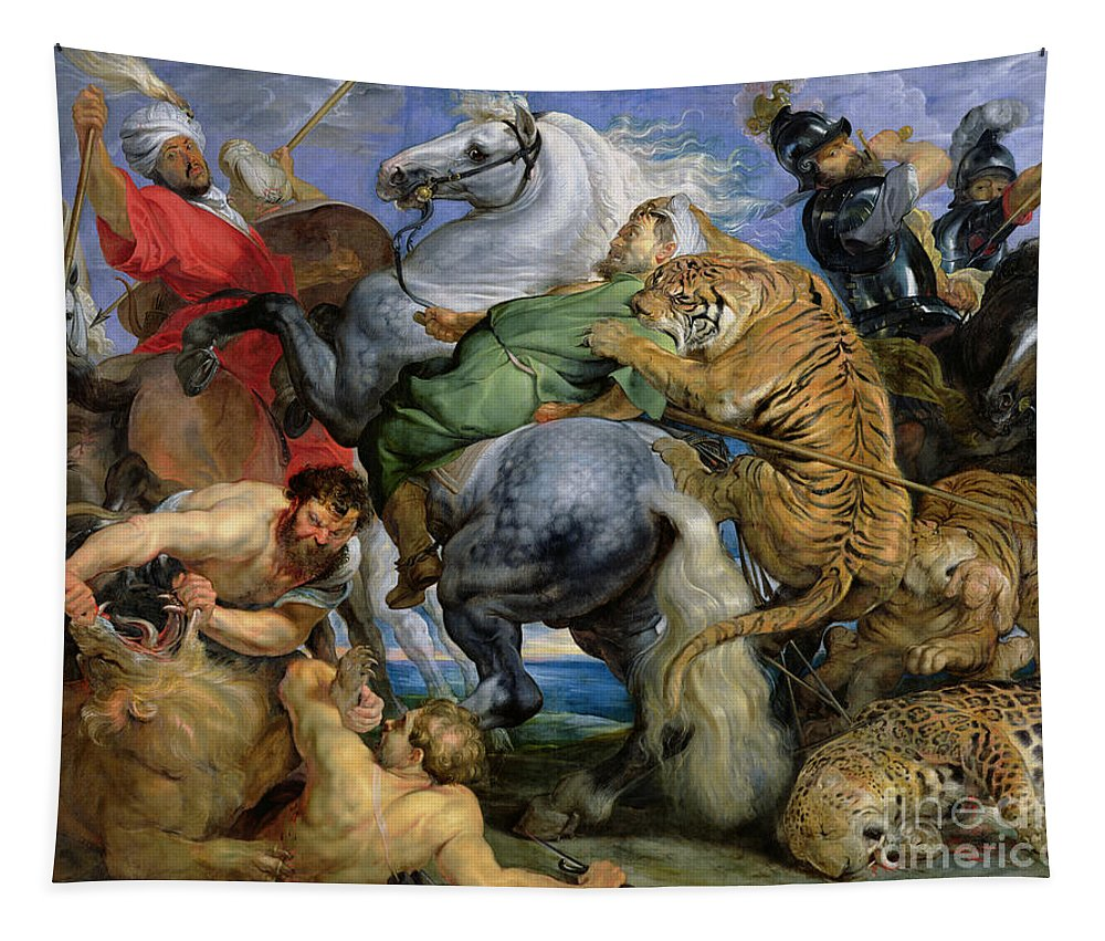 The Tapestry featuring the painting The Tiger Hunt by Rubens