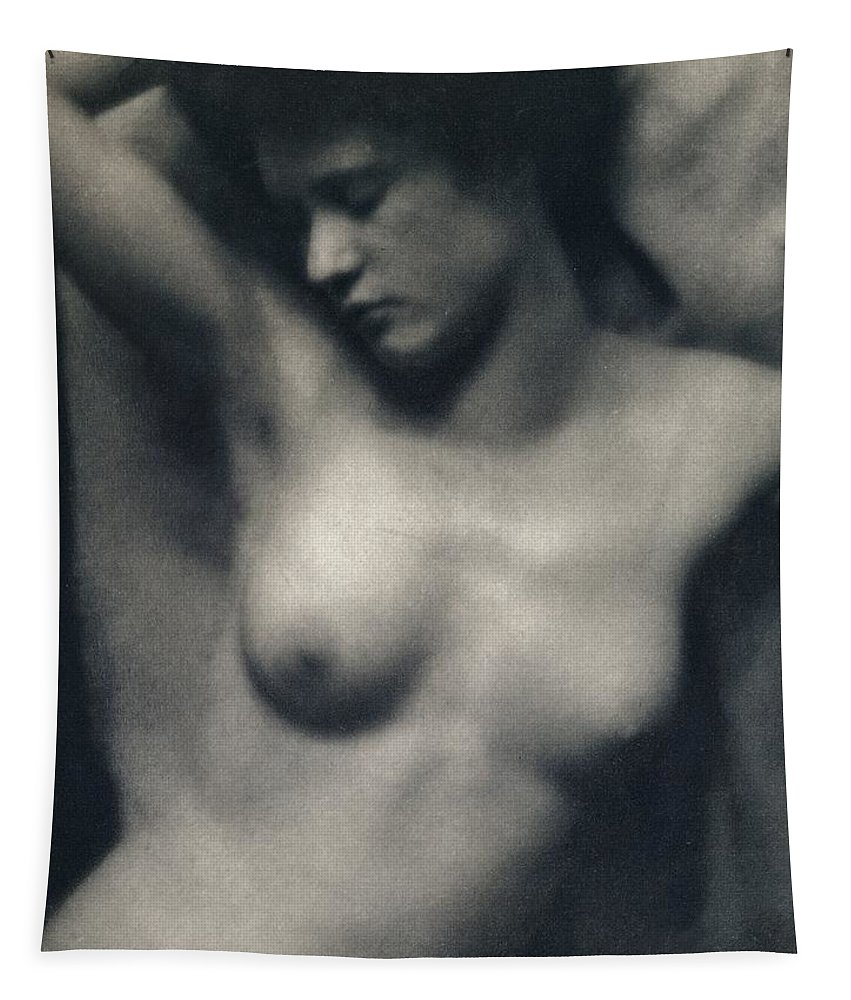 Female; Portrait; Black And White Photograph; Nude; Breasts Tapestry featuring the painting The Torso by White and Stieglitz