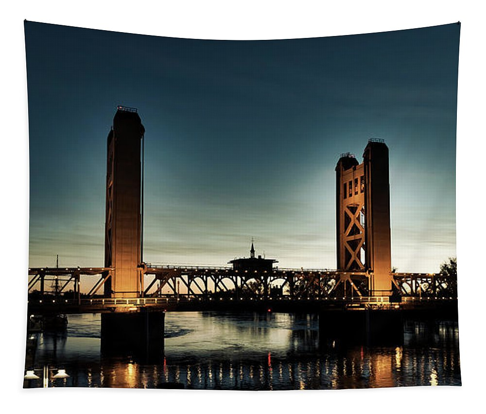 Tower Bridge Tapestry featuring the photograph The Tower Bridge At Sunset by Mountain Dreams