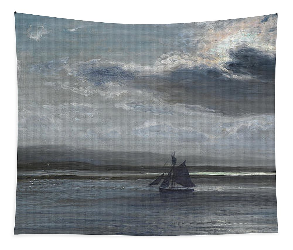 Traeth Mawr Tapestry featuring the painting The Traeth Mawr, Moonlight by Henry Moore