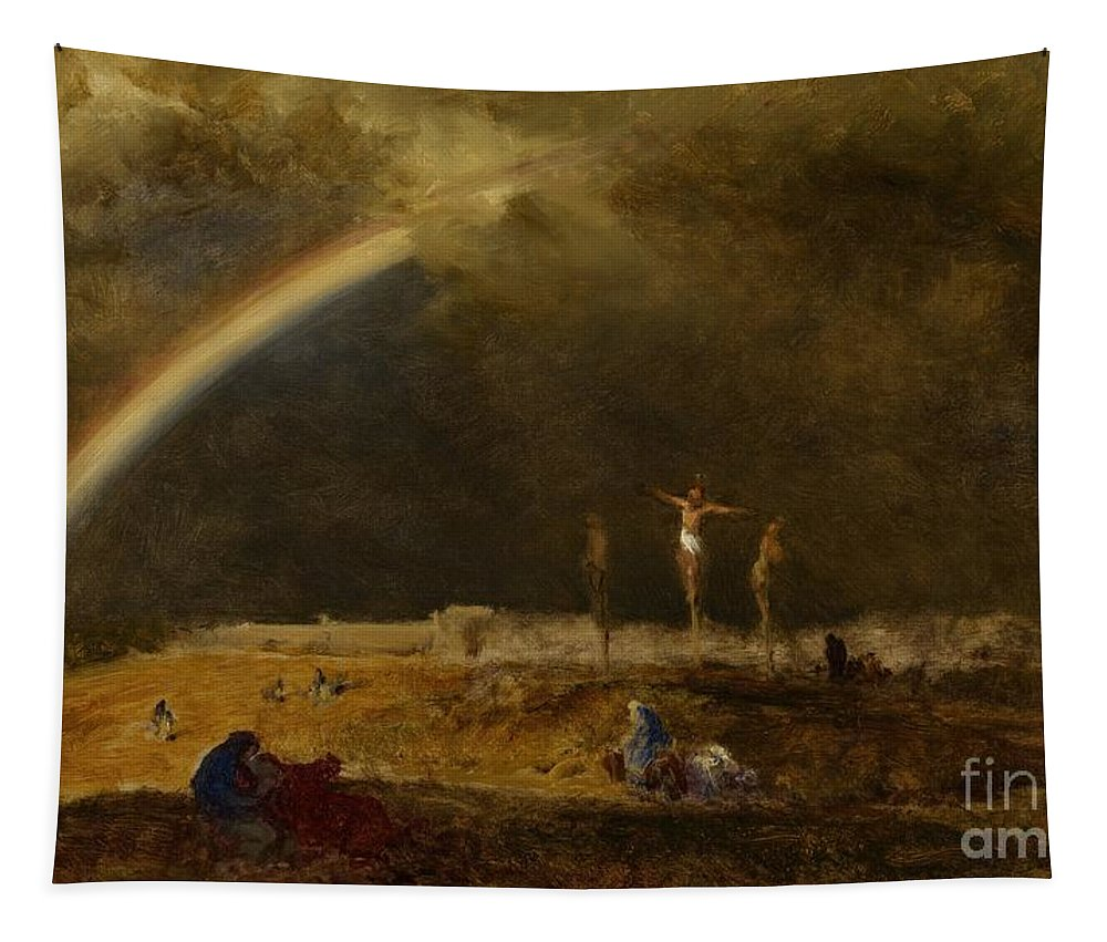 Christ Tapestry featuring the painting The Triumph At Calvary by George Inness