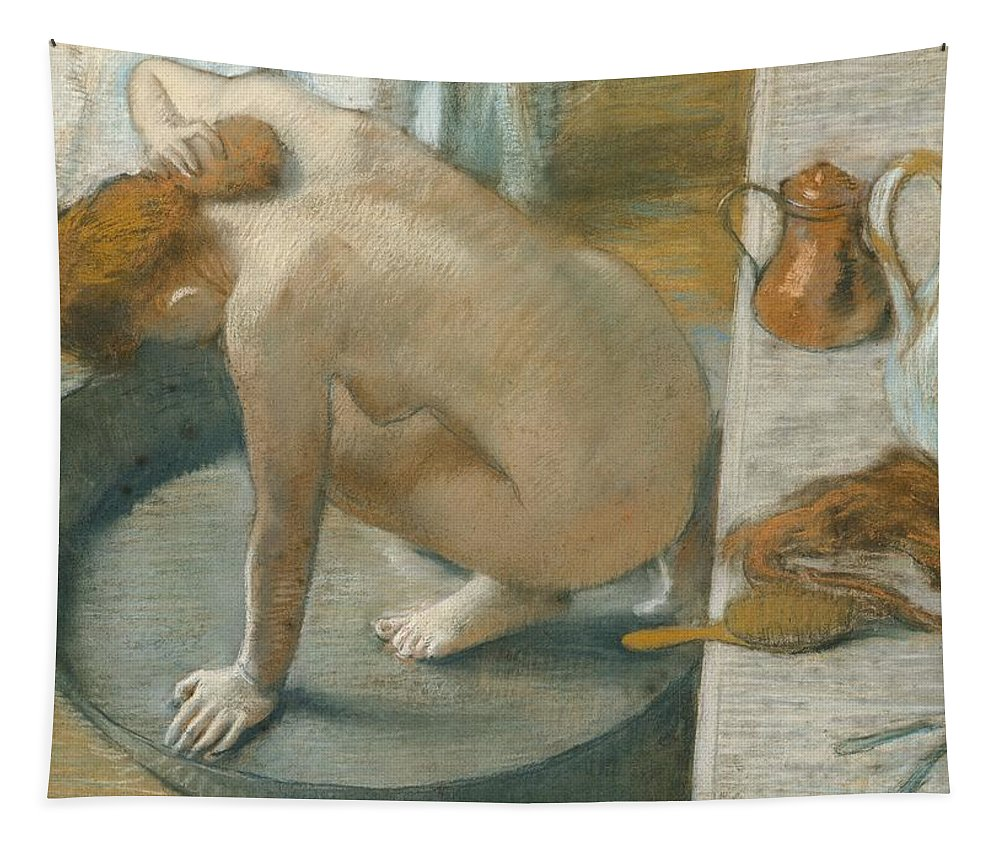 Tub Tapestry featuring the pastel The Tub by Edgar Degas