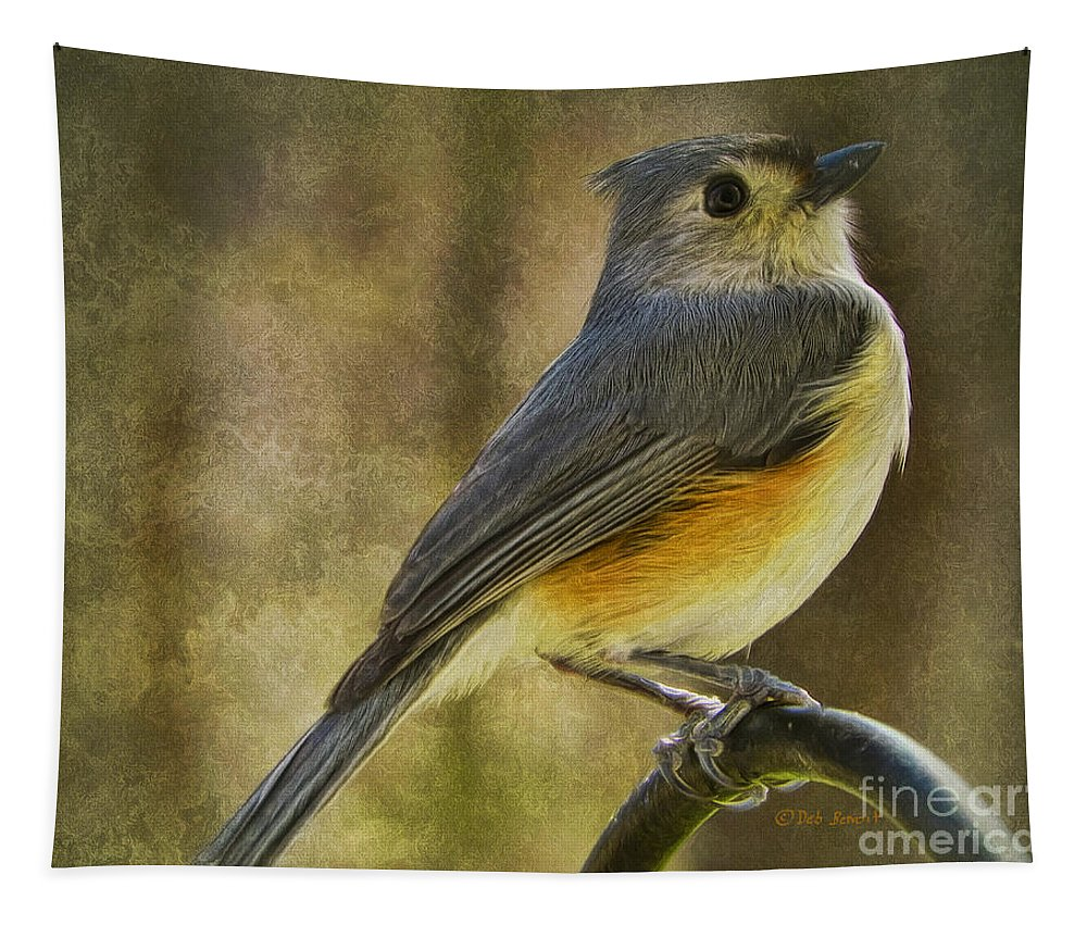 Tufted Titmouse Tapestry featuring the painting The Tufted by Deborah Benoit