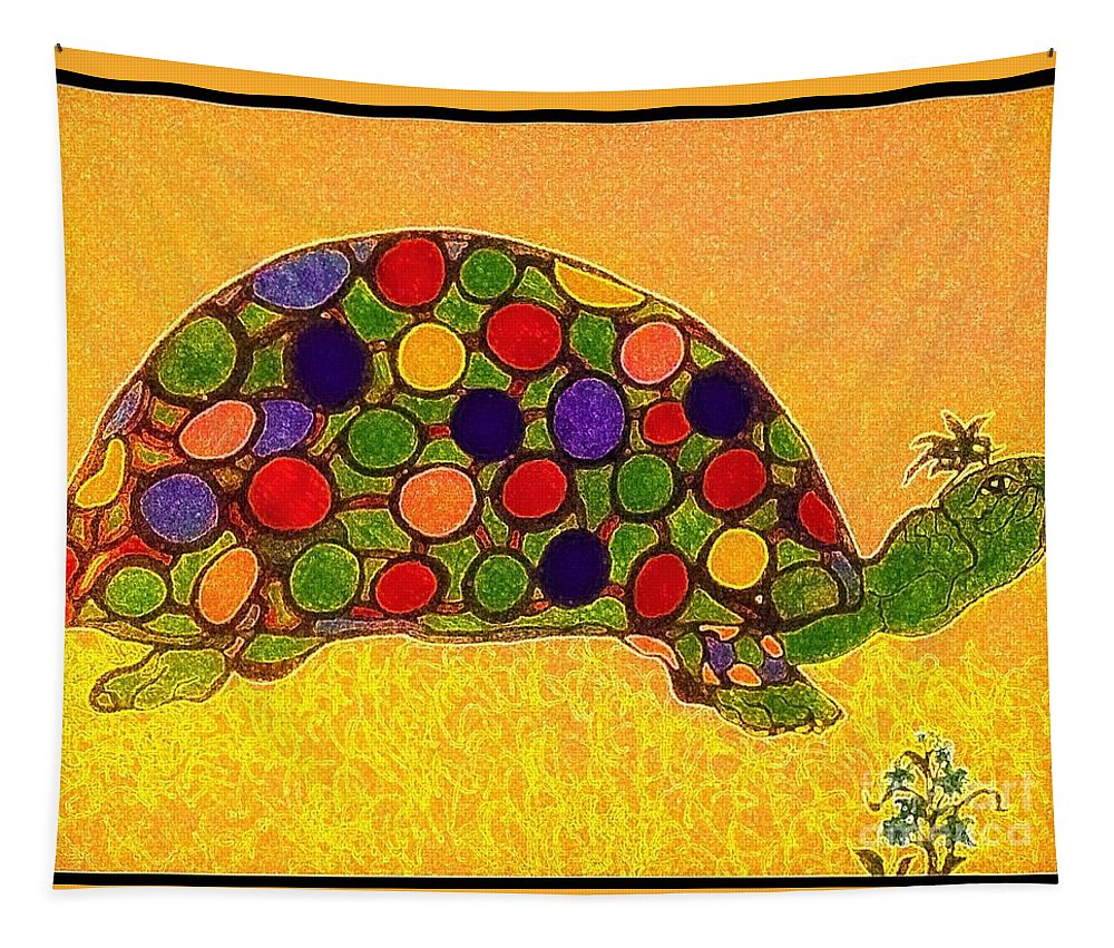 Turtle Tapestry featuring the painting The Turtle In Lighter Colors by Debra Lynch
