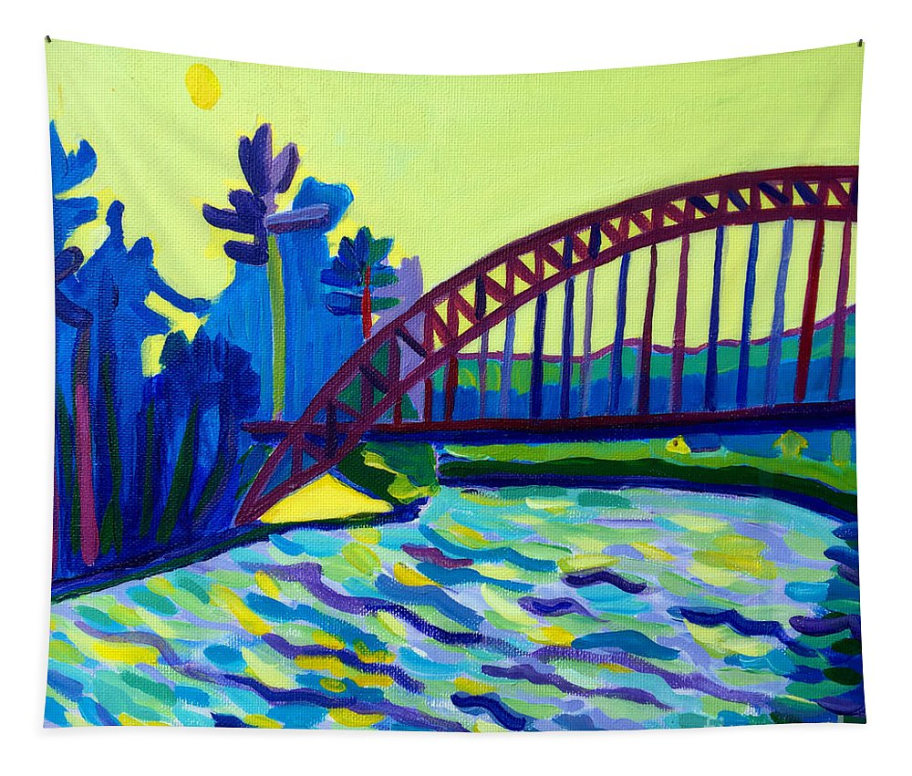 Water Tapestry featuring the painting The Tyngsborough Bridge by Debra Bretton Robinson