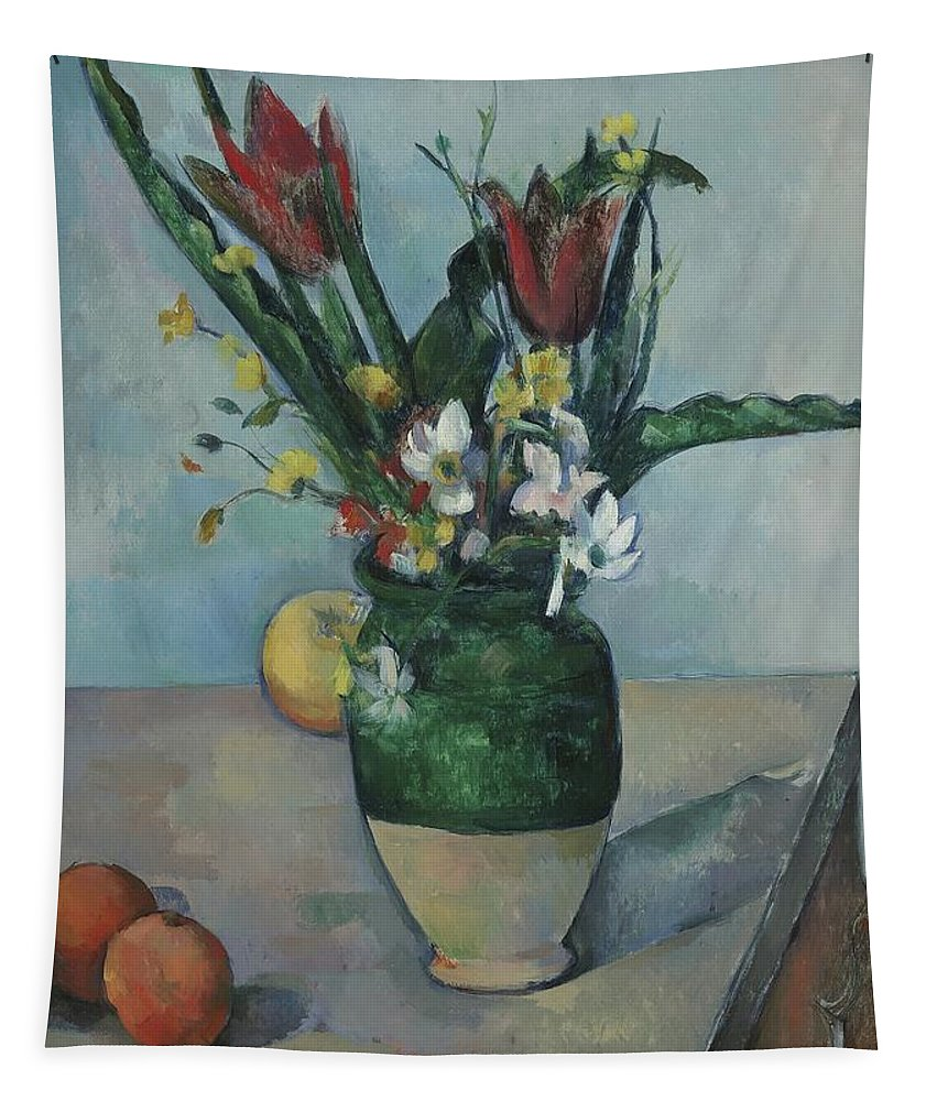 Still-life Tapestry featuring the painting The Vase Of Tulips by Paul Cezanne