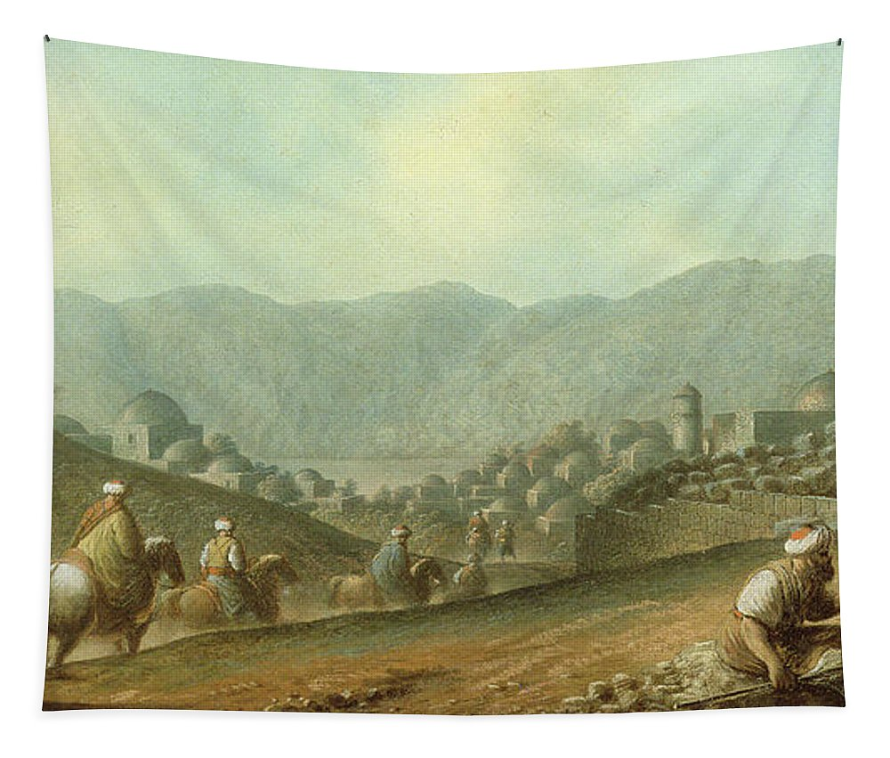 Landscape Tapestry featuring the painting The Village Of Betania With A View Of The Dead Sea by Luigi Mayer
