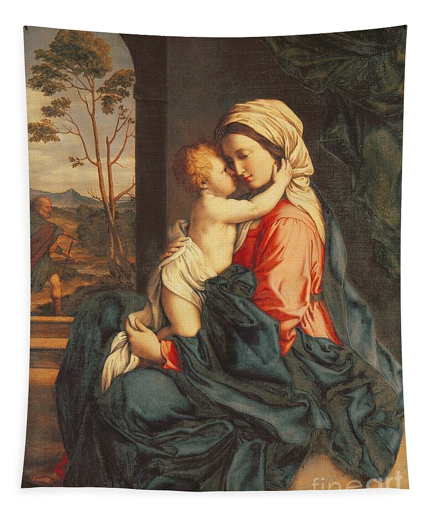 The Tapestry featuring the painting The Virgin And Child Embracing by Giovanni Battista Salvi