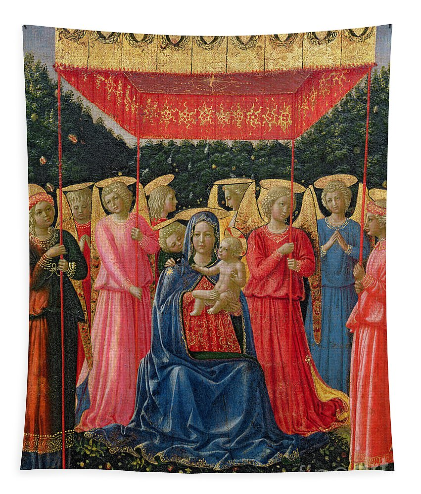 Virgin Tapestry featuring the painting The Virgin And Child With Angels by Fra Angelico