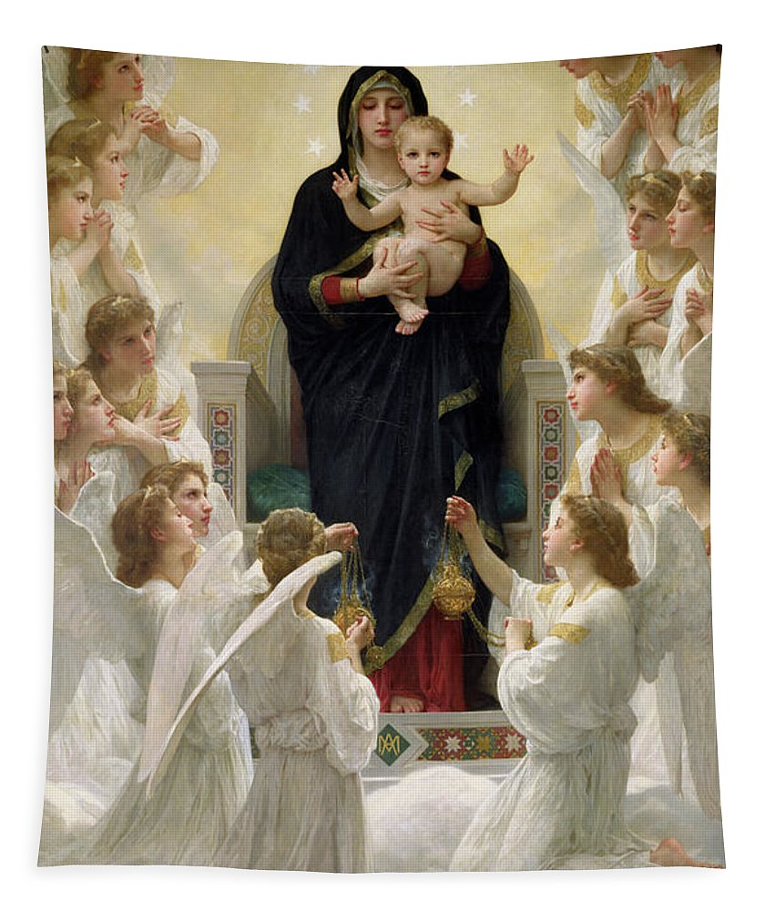The Tapestry featuring the painting The Virgin With Angels by William-Adolphe Bouguereau