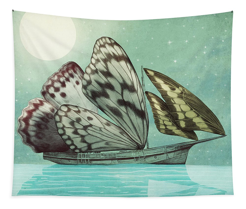 Butterfly Tapestry featuring the drawing The Voyage by Eric Fan