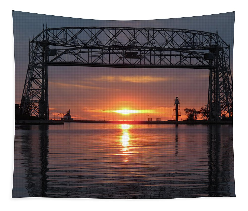 Aerial Lift Bridge Tapestry featuring the photograph the Wait by Alison Gimpel