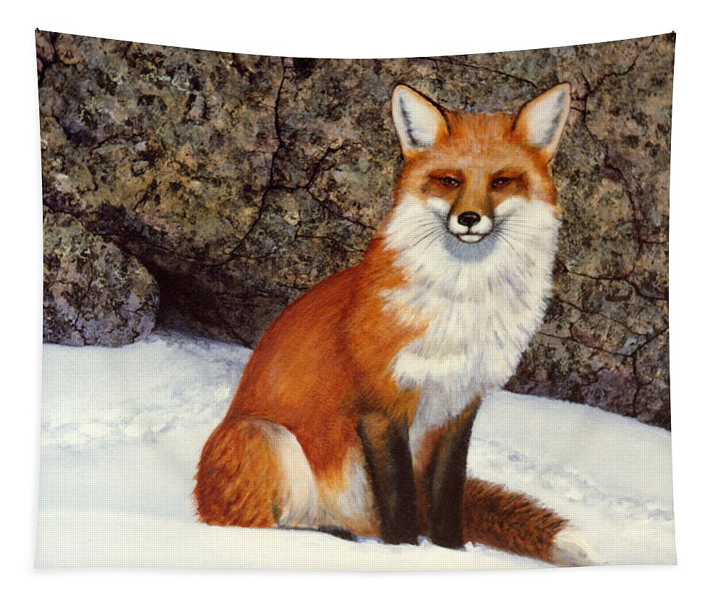 Wildlife Tapestry featuring the painting The Wait Red Fox by Frank Wilson