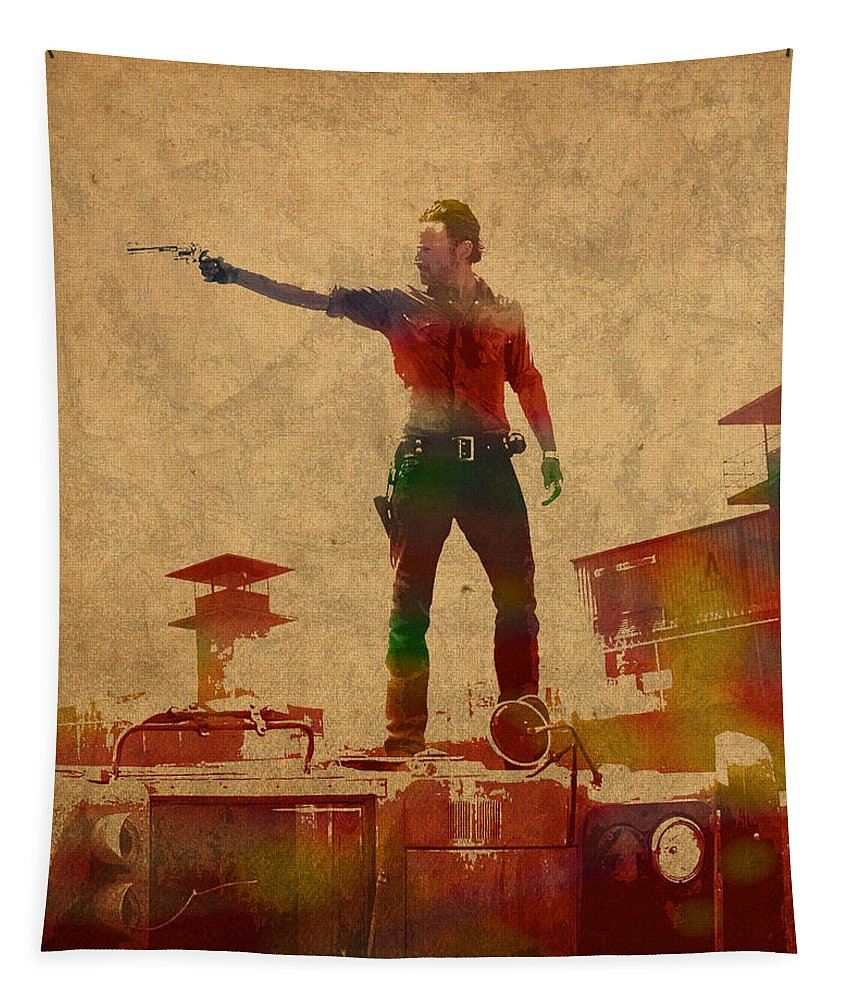 The Walking Dead Tapestry featuring the mixed media The Walking Dead Watercolor Portrait On Worn Distressed Canvas No 1 by Design Turnpike