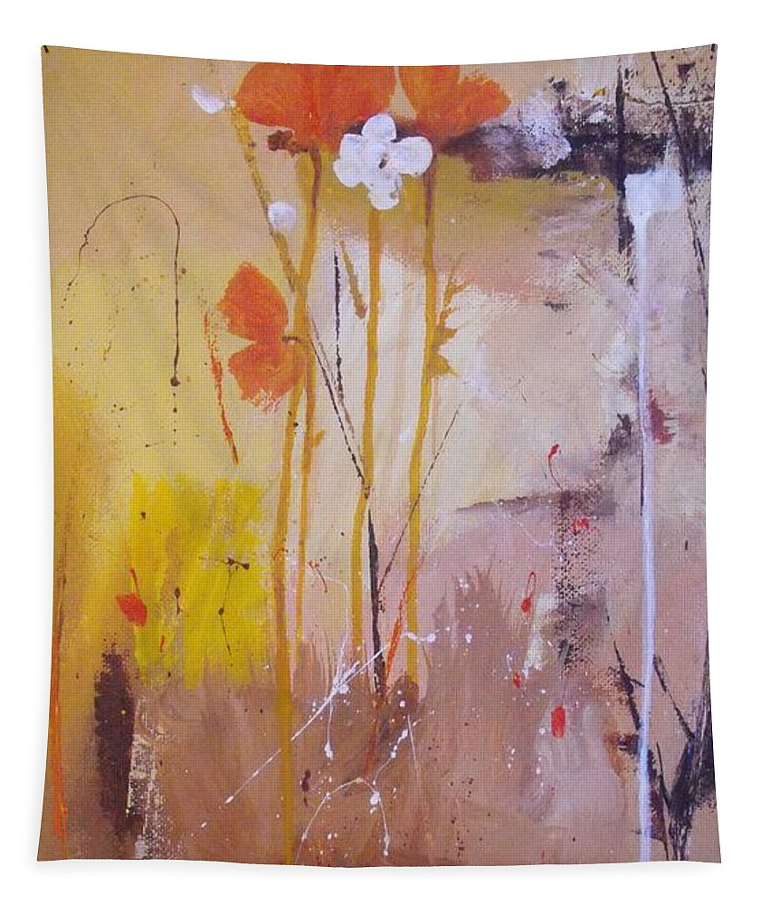 Abstract Tapestry featuring the painting The Wallflowers by Ruth Palmer