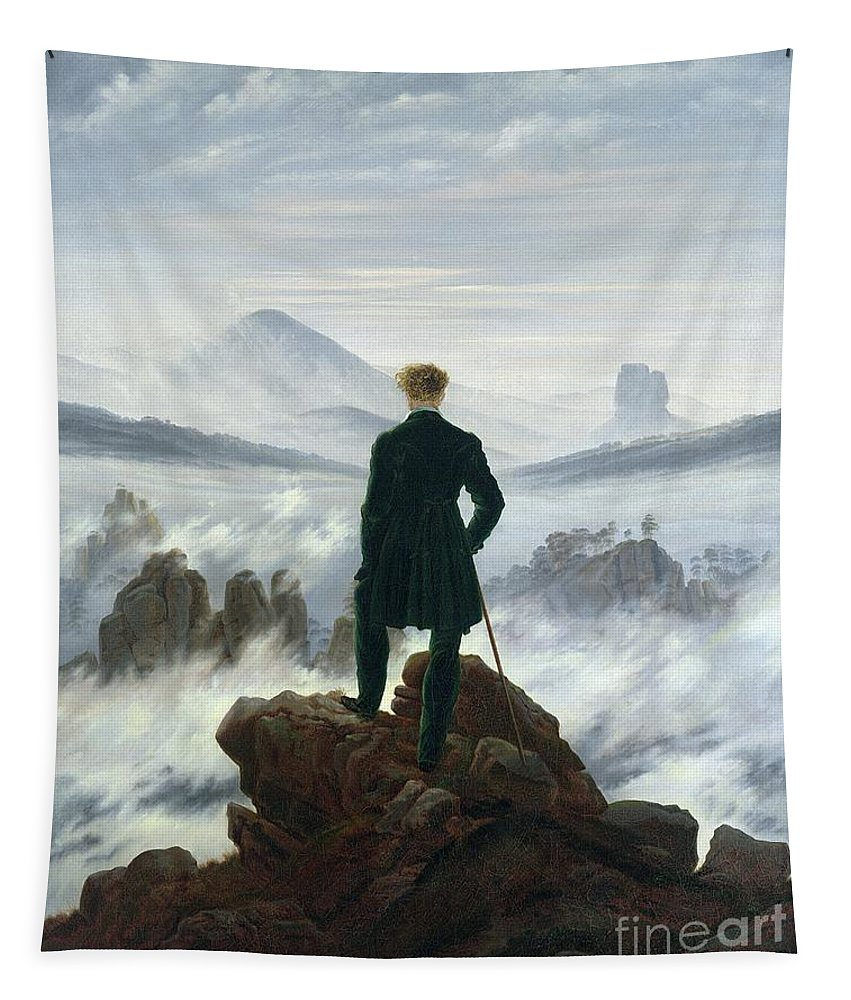 The Tapestry featuring the painting The Wanderer above the Sea of Fog by Caspar David Friedrich